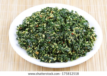 Curry dish made of Moringa leaf.The leaves are the most nutritious part of the plant,   source of vitamin C beta-carotene, vitamin K, manganese and protein, among other essential nutrients.