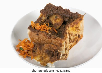 curry in hollowed out bread known as bunny chow