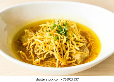 curry noodles soup with soft pork ribs - Nothern traditional Thai foods style