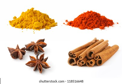 Curry, paprika, cinnamon and anise on white background