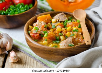 Curry with pumpkin and corn