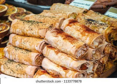 Curry rolls on display at Broadway market, a street market in Hackney, East London