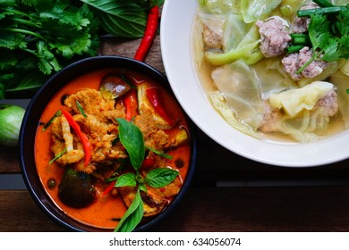 Curry Spicy Pork and Soup Cabbage with Pork ball