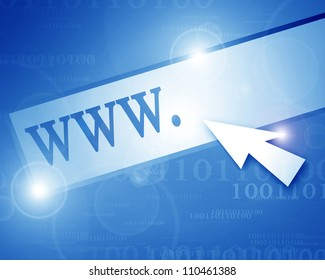Cursor arrow pointed at world wide web button