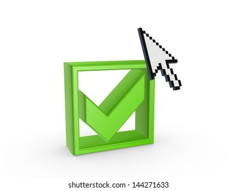 Cursor and green tick mark.