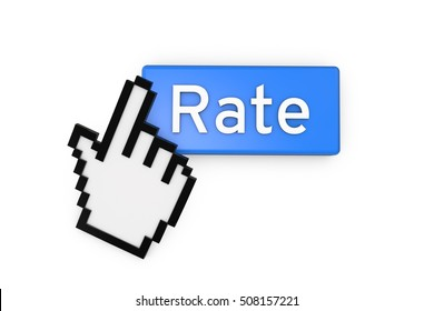 cursor hand clicking on a blue rate button. 3D rendering