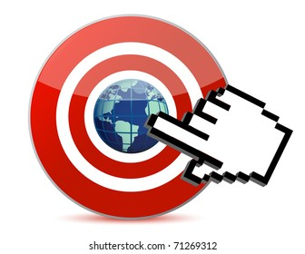 cursor hand clicks on search engine marketing SEM world