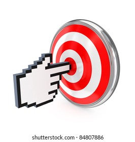 Cursor and red target.3d rendered.Isolated on white background.