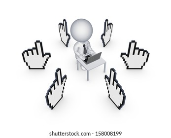 Cursors around 3d person with notebook.Isolated on white.3d rendered.