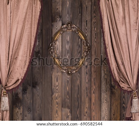 Curtain With Antique, Gold, Victorian Frame