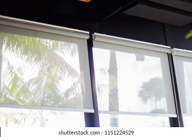 curtain or blinds Roller sun protection and big Glass windows.
