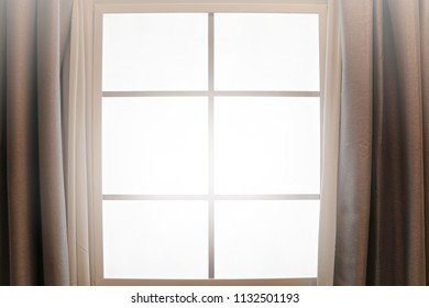 Curtain interior decoration in living room with sunlight on the window background.Business,Abstract,Home and Decor Concept.Copy space for text.