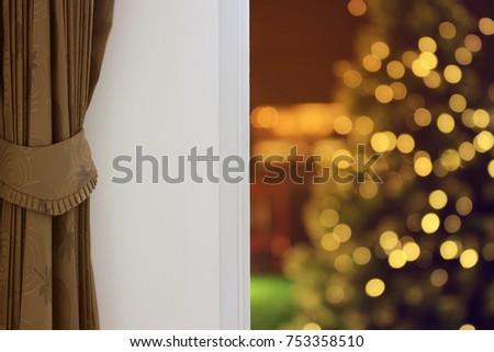 Curtain Interior Decoration Living Room Christmas Stock Photo Edit