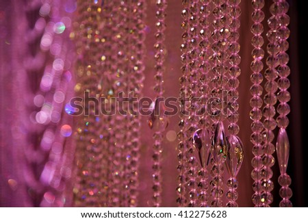 Curtain made from crystals