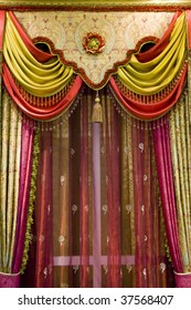 curtain with an ornament in the modern house