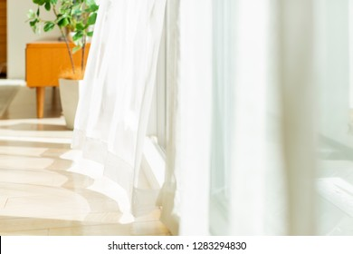 Curtain shaking in the wind