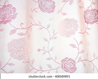 Curtains striped pink roses