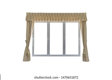Curtains and windows isolated on white background with clipping path