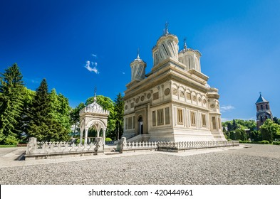 Curtea de Arges monastery, Romania. Curtea de Arges Monastery is known because of the legend of architect master Manole. It is a landmark in Wallachia, medieval Romania.