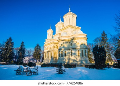 Curtea de Arges monastery in winter, Romania. Curtea de Arges Monastery is known because of the legend of architect master Manole. It is a landmark in Wallachia, medieval Romania.