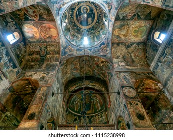 Curtea de Arges,  Romania - July 1, 2017 : Decorated interior of Saint Nicholas orthodox cathedral with ancient frescoes