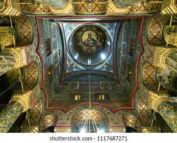 Curtea de Arges, Romania - July 1, 2017 : 16th century orthodox cathedral interior and richly decorated dome