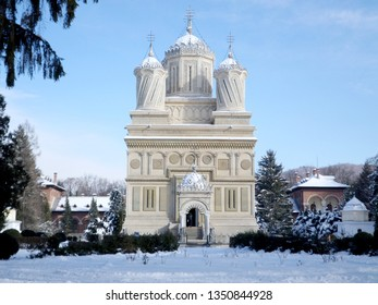 Curtea de Argeș Cathedral. Ancient monastery and church of the early 1500s which houses numerous ancient icons, religious works of art and crypts. Byzantine architecture, Moorish style