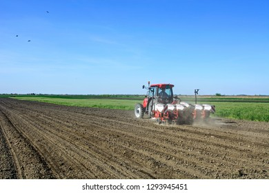 CURUG, SERBIA, 20, APRIL 2018. Spring sowing. Farmer with a tractor sows corn on his field.
