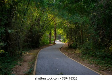 Curve along Skyline Drive in Erawan National Park. Line go to Erawan waterfall.