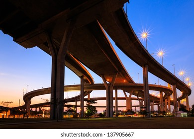 Curve of expressway in Bangkok at twilight