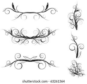 curve floral element set in black and white