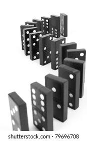 curve line domino,  Black wooden curve line domino.