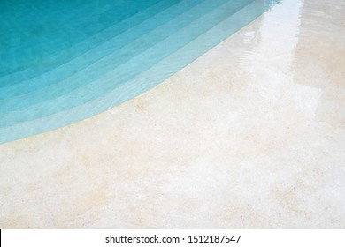 Curve line and edge of the swimming pools with Turquoise green and blue water color