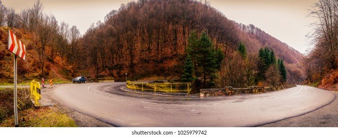 the curve of the mountain road