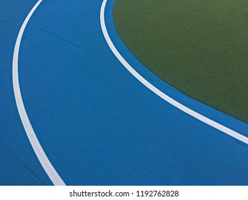 Curve on an outdoor artificial track and turf