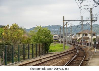Curve railway track in Wakayama Japan