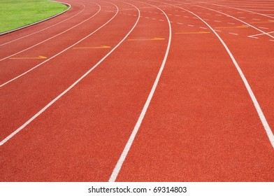 Curve of red running track