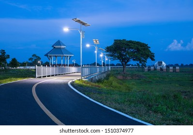 The curve of the road to the bridge solar cell