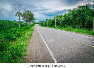 Curve road at Chachoengsao province in Thailand