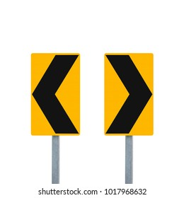 Curve road sign or Road signs road pointing left and right isolated on white background. Objects clipping path
