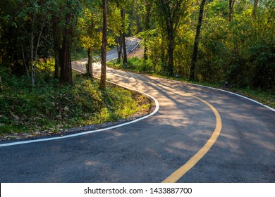 Curve road in the tropical forest before sunset at Thung Salaeng Luang National Park, Phitsanulok, Thailand