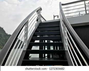 Curve stair to the boat deck