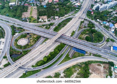 The curve of suspension bridge, Thailand. Aerial view. Top view. Background scenic road.Elevated expressway.