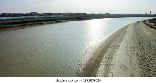 Curved bank of the Kura river. The village of Neftechala. Azerbaijan. - Shutterstock ID 1992839024