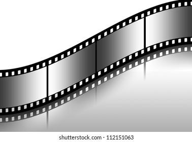 Curved black film sheet on background white