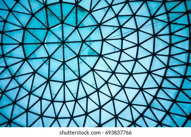 Curved Blue Glass Roof or Ceiling of Dome with Geometric Structure Black Steel in Modern and Contemporary Architecture Style as abstract architectural and industrial background or pattern