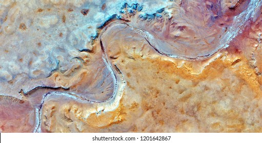 The curved border, tribute to Pollock, abstract photography of the deserts of Africa from the air, aerial view, abstract expressionism, contemporary photographic art, abstract naturalism,