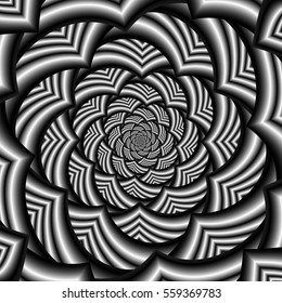 Curved Chevron Spiral in Black and White / A digital abstract fractal image with a curved chevron spiral design in black and white.