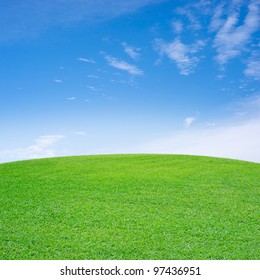 Curved field of green grass and blue sky