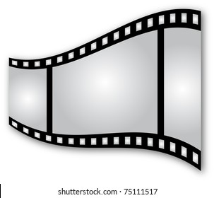 Curved film strip on white background